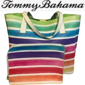 TOMMY BAHAMA REVERSIBLE RAINBOW TOTE **NWT**